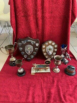 Selection Of Vintage Snooker Trophies And Shields