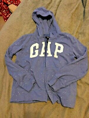 Gap hoodie, zip Up purple sparkle age13