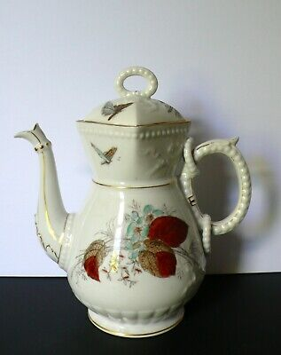 Antique English? Victorian China Porcelain Butterfly Teapot Coffee Pot