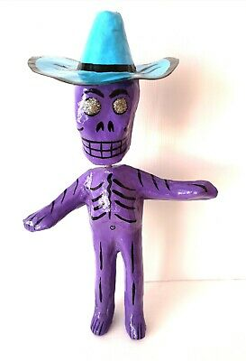 MEXICAN  Paper Mache Bobble head Purple Day of the Dead Skeleton Folk Art #02
