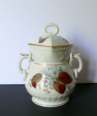 Antique English? Victorian China Porcelain Butterfly Floral Sugar Bowl Jar