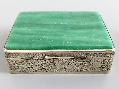Antique Middle Eastern Solid Silver & Green Agate Desk Box / Jewelry Box