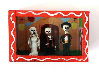 Mexican Folk Art Small Day of the Dead Diorama Box Bride & Groom Wedding
