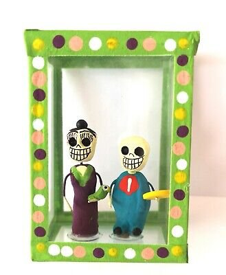 Mexican Folk Art Small Day of the Dead Diorama Box Frida Kahlo & Diego Rivera #1