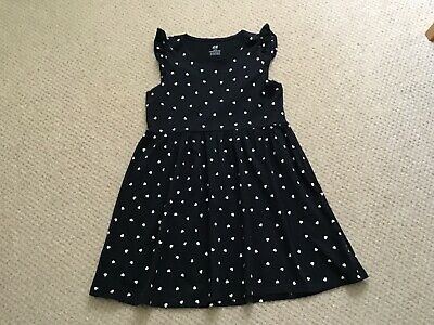 H&M girls Navy/white hearts design cotton Dress age 8-10 years
