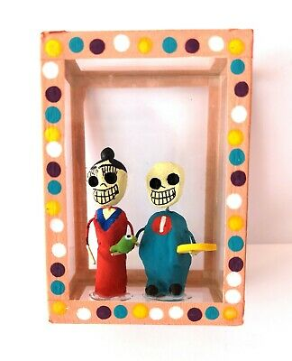 Mexican Folk Art Small Day of the Dead Diorama Box Frida Kahlo & Diego Rivera #4