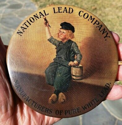 Early 1900's NATIONAL LEAD COMPANY Paperweight Pocket Advertising Mirror 4""