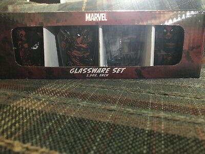 4 Piece Marvel Deadpool Collectors Shot Glasses. Includes One 4-pack Of Glasses