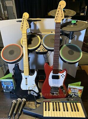 Xbox 360 Rock Band- Drums,Pro-Cymbals,Pro-Mustang & Strat,Keyboard,Mics, RB1