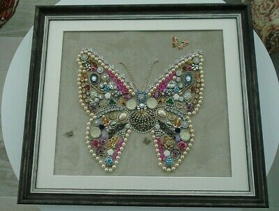 """Large Vintage Costume Jewellery Collage Butterfly Picture Framed Art 18"""" x 16"""""""