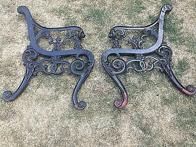 Ornamental Cast Iron Lions Head Bench Ends With Fixing Brackets.
