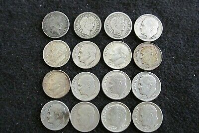 Lot of 16 Silver Dimes (Mixed Roosevelt & Barber)