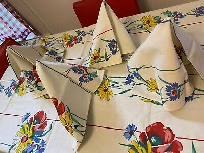 Vintage 50's Wilendur Happy Summer Flowers Tablecloth w 4 Matching Napkins NICE