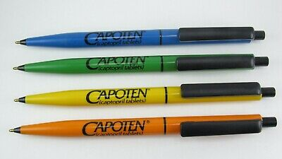 Lot 4 Capoten Drug Rep Pharmaceutical Pens 1 Made in Germany Orange Yellow Blue