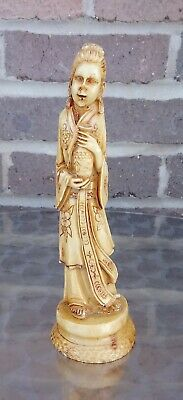 Vintage Chinese Woman Hand Carved Resin Figurine Statue