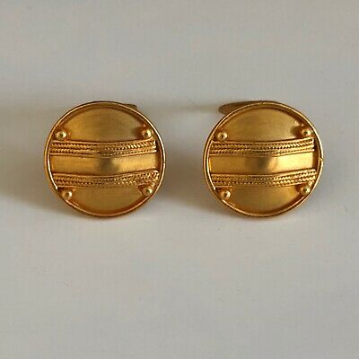 INCA  Button Earring Clip On pre-columbian Art Replcas EarringsGold Plated