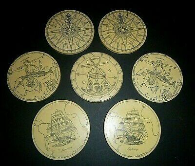 Vintage Faux Scrimshaw Nautical Coasters by MC Artek Save the Whale Series