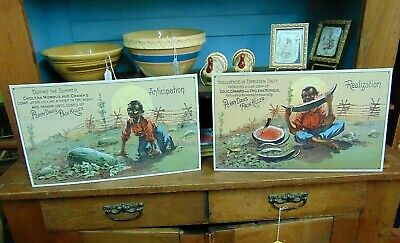Perry Davis Pain Killer BLACK AMERICANA VINTAGE STYLE Advertising Signs Lot Of 2