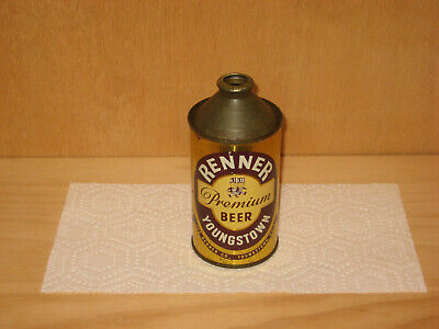 Renner Premium cone top beer can IRTP flat Youngstown OH Ohio high grade NICE