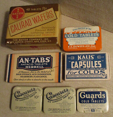 Vintage Advertising TINS-BOXES-Medical-Health-Drugs-BAYER-MERRELL-GUARDS-KALIS
