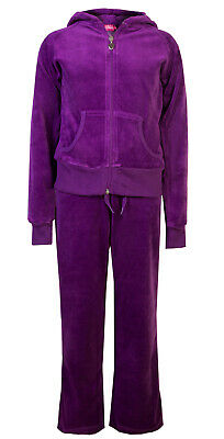 Childrens Velour Tracksuits Hoodys Joggers Set Girls Lounge Suit Purple Age 3-4