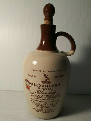 """""""Alexanders Special Blended Scotch Whisky"""" Stoneware Jug Whiskey Flagon"""