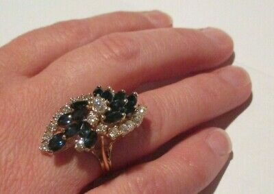 Beautiful 14K Yellow Gold Marquise Cut Blue Sapphire Round Diamond Cocktail Ring