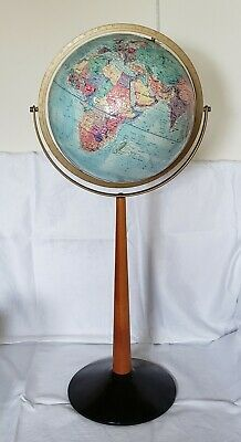 "Vintage 1976 Mid Century Modern 12"" Replogle World Globe Wood Floor Stand"