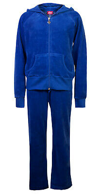 Childrens Velour Tracksuits Hoodys Joggers Set Girls Lounge Suit Blue Age 5-6