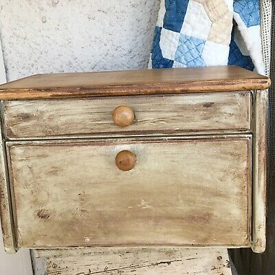 Vintage Wooden Bread Box With Lift Top And Pull Down Openings