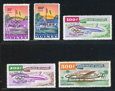 Guinea MH Selections: Scott #201//C26 Rome 1960 OLYMPICS OVPTs Complete CV$92+