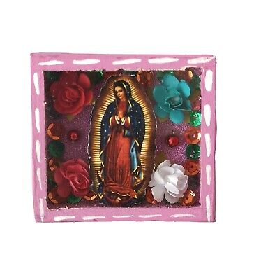 Mexican Folk Art Small Virgin of Guadalupe Diorama Box Gorgeous & Glittery #3