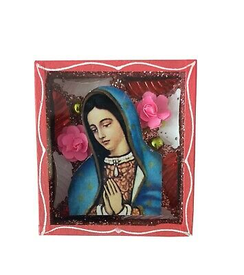 Mexican Folk Art Small Virgin of Guadalupe Diorama Box Gorgeous & Glittery #4