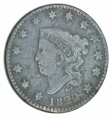 Tough - 1822 Matron Head Large Cent - US Early Copper Coin *258