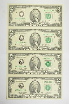 Rare** UNCUT SHEET 2003-A $2 Fed Res Notes Choice Unc Never Cut by Treasury *843