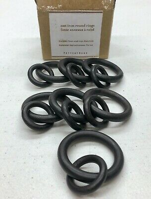 NEW Pottery Barn Essential SMALL Cast Iron Curtain Drapery Round Rings~Set of 7