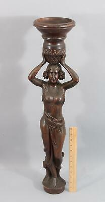 Antique Art Deco Carved Wood Nude Gypsy Orientalist Lady Woman Statue Carving NR