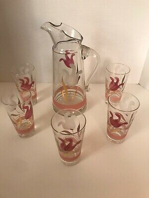 Vintage / Deco/Hand Painted Mauve And Gold Leaf  pitcher And 5 Glasses