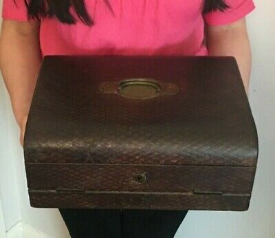 Rare Antique Leather Bound Writing Slope & Fitted Stationery Box
