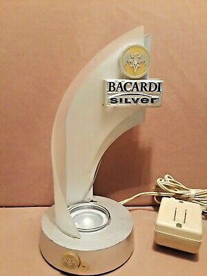 Nice Bacardi Silver Rum Bottle Holder Light Bat Logo Lamp 2002
