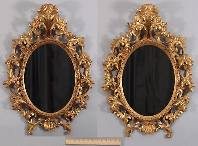 Pr Antique mid-20th Oval Carved Wood Gold Gilt Florentine Rococco Frame Mirrors