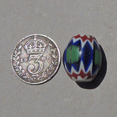 a small blue and green old venetian 5 layer oval chevron african trade bead #26