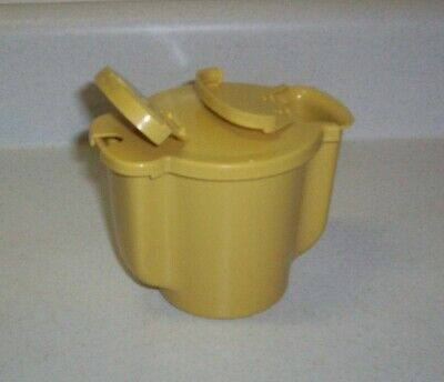 Vintage Tupperware Sugar Container Bowl (#577) with Flip Top Lids - Harvest Gold