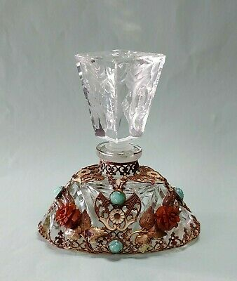 SIGNED Czech Made Art Deco Jeweled Perfume Bottle Ormolu and Rose Vintage