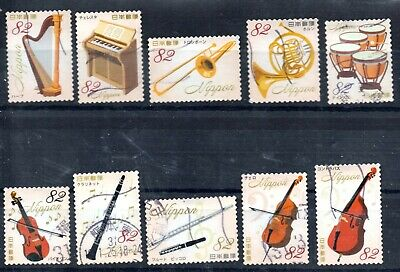 Japan 2018 ¥82 Musical Instruments Series 1, (Sc# 4264a-j), Used