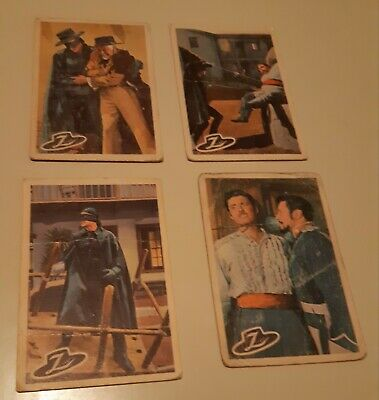 Zorro 1958  Lot Of 4 Different Canadian Edition Non Sports Cards