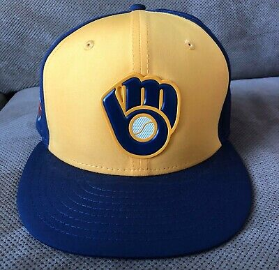 2018 Christian Yelich Game Used Worn Milwaukee Brewers Spring Training Hat MVP