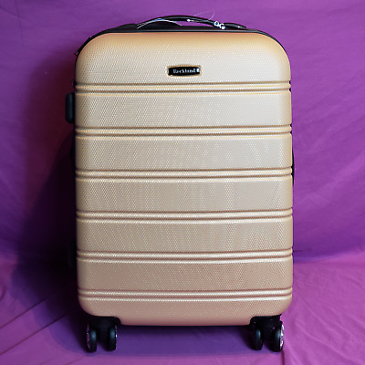 "Rockland Melbourne 20"" Expandable ABS Carry-On Suitcase Spinner Wheels Champagne"
