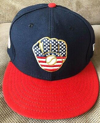 2019 Christian Yelich Game Used Milwaukee Brewers July 4th Stars and Stripes Hat