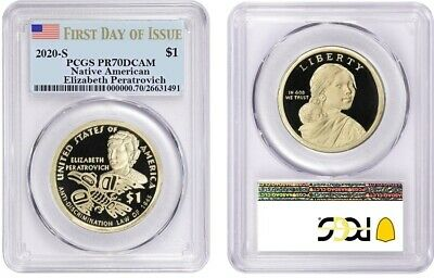 2020 S Sacagawea $1 Elizabeth Peratrovich Pcgs Pr70Dcam First Day Of Issue 155